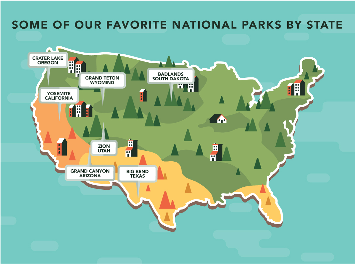some of our favorite national parks by state (map) | blog - forever